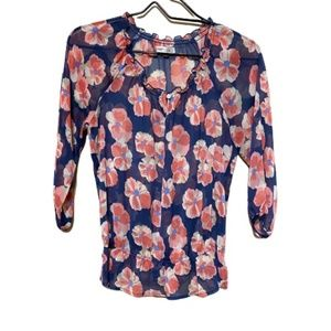 Old Navy Floral Sheer Blouse Sz S